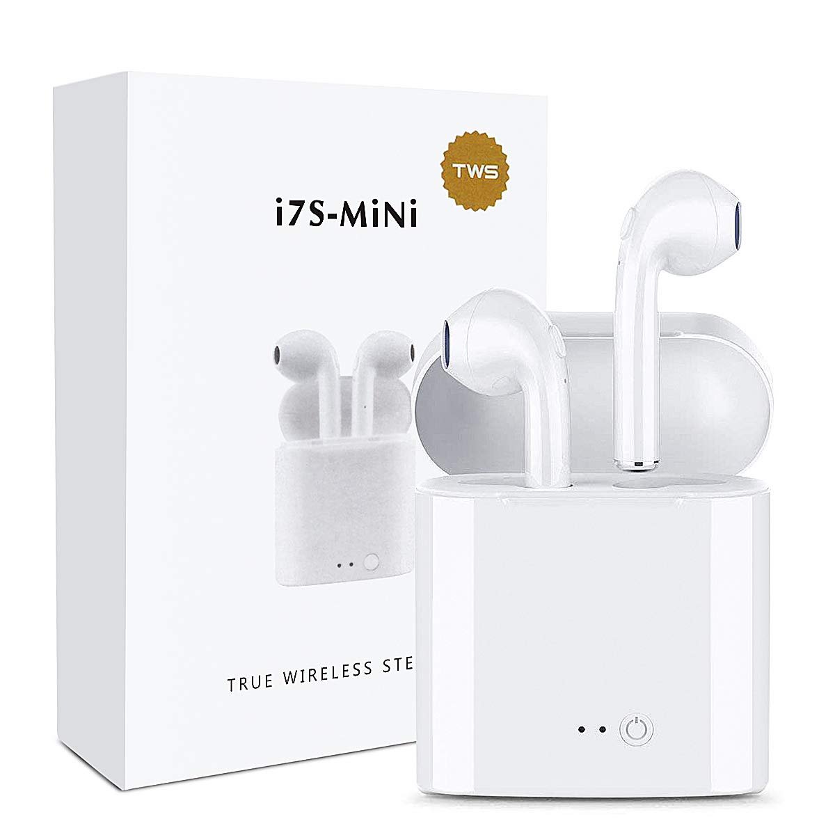 Winmoom Bluetooth Headset, Wireless Headphone/Sports Headphones, Sweat Headphones, Mini in-Ear Earphones with Microphone, Noise Reduction Charging Case for Android and Other Smartphones WirelessEarBudsCase-B102