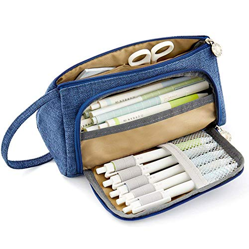 COOLOOK Pencil Pen Case Big Capacity Storage Oxford Cloth Bag Holder Desk Parker Stationery Organizer Box Pouch with Zipper for Middle High School & Office Blue