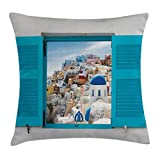 Ambesonne European Throw Pillow Cushion Cover, Old Shutter Window with View of Traditional Greek Village Heritage Culture Decor Art, Decorative Square Accent Pillow Case, 18 X 18 inches, Multi