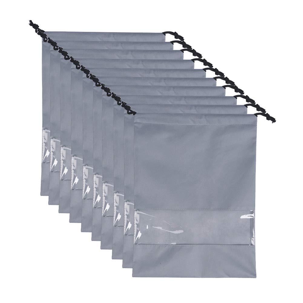 Ibnotuiy 10Pcs Non-Woven Shoes Dustproof Bag Drawstring Travel Shoe Storage Bags (Gray) by Ibnotuiy