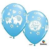 7 pcs. IT'S A Boy! Blue 11'' Latex Balloons Elephant Theme Baby Shower Decorations
