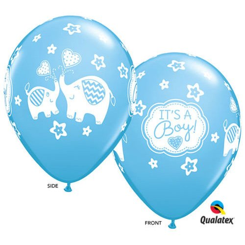 7 pcs. IT'S A Boy! Blue 11'' Latex Balloons Elephant Theme Baby Shower Decorations