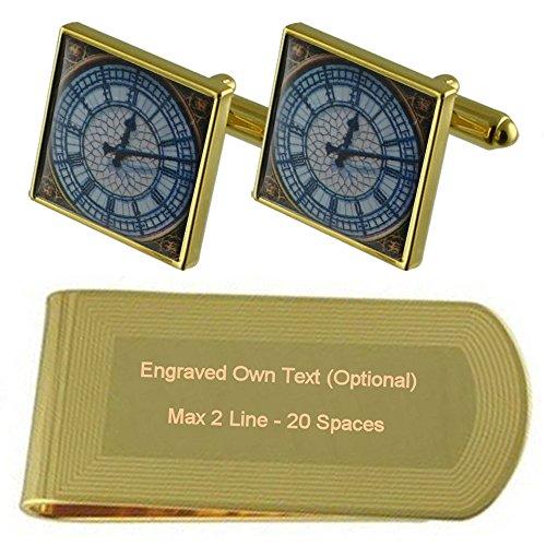 Set Cufflinks Ben Big Clip Money tone Clock Gold Gift Time Engraved 6UvwWqpPq