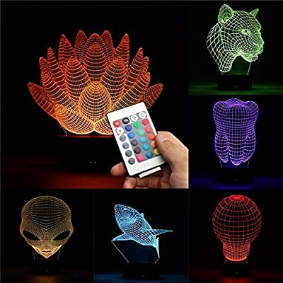 3D Color Changing LED Desk Table Lamp Remote Acrylic USB Night Light Christmas Gift (Random: NO.)