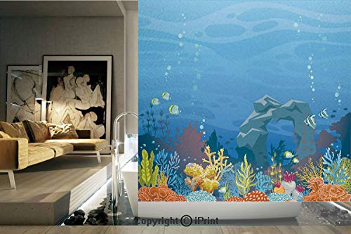 Decorative Privacy Window Film/Colorful Coral Reef with Fishes and Stone Arch Under the Sea Natural Seascape Decorative/No-Glue Self Static Cling for Home Bedroom Bathroom Kitchen Office Decor Multico (Coral Reef Fish Cut Outs)