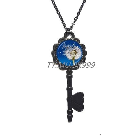 Amazon.com: Dandelion - Collar con colgante de llave, diseño ...