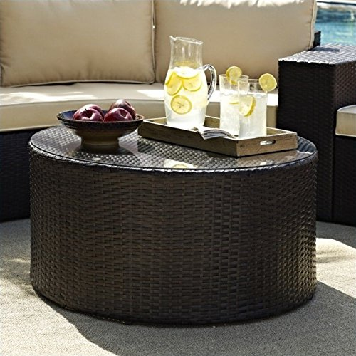 Crosley Furniture Catalina Outdoor Wicker Round Coffee Table with Glass Top - (Round Patio Coffee Table)