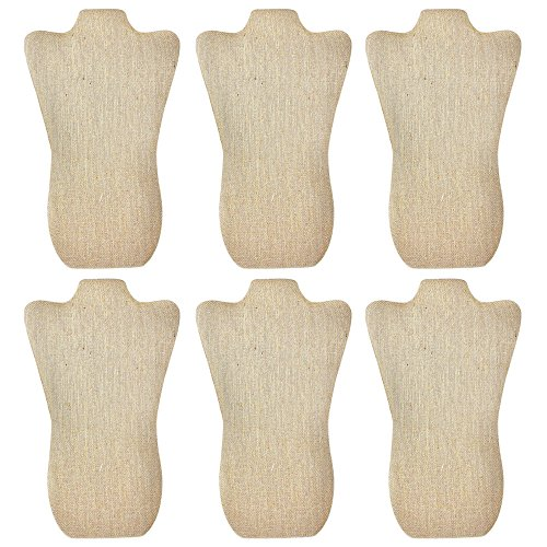 Mooca 6 Pieces Linen Cover MDF Wood with Sturdy Cardboard Easel Necklace Display 8 5/8