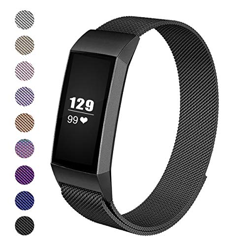 - Wekin Replacement Bands Compatible with Fitbit Charge3 Fitness Tracker, Stainless Steel Mesh Bracelet with Unique Magnetic Closure Clasp for Charge 3 & Charge3 SE Wristband