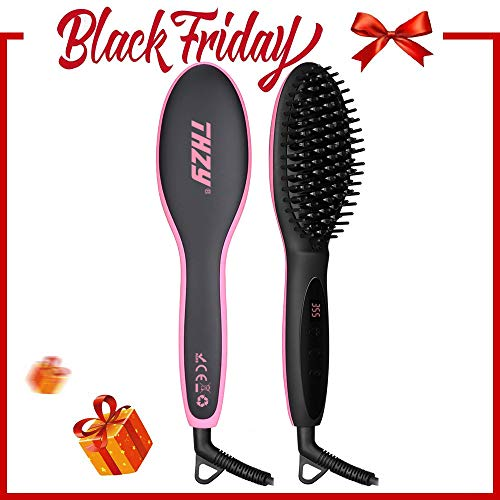 Free Hair Brushes - Ionic Hair Straightener Brush for Silky Frizz Free Hair, Anti-Scald Ceramic Straightener Comb Ionic Hair Brush for All Hair Types with Heat Resistant Glove