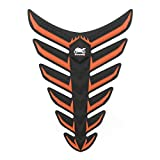 Areyourshop Fish Bone 3D Sticker Gas Oil Fuel Tank Pad Protector Decal For Yamaha Honda Orange