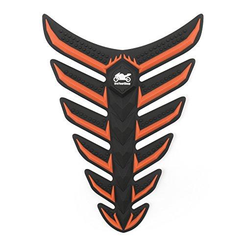 Orange Tank Pad - Areyourshop Fish Bone 3D Sticker Gas Oil Fuel Tank Pad Protector Decal For Yamaha Honda Orange