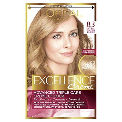 L'Oreal Paris Excellence 8.3 Natural Golden Blonde Hair Dye, Pack of 3