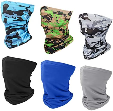 6 Pieces Sun UV Protection Face Mask Neck Gaiter Windproof Scarf Sunscreen Breathable Bandana Balaclava for Sport&Outdoor 5