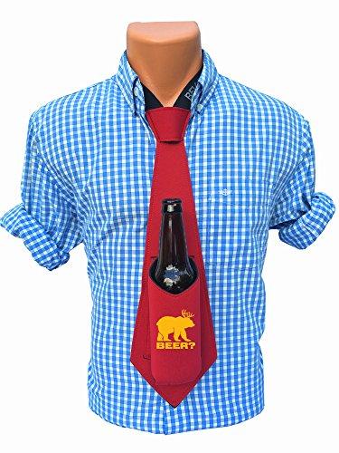 Bev Tie The Original Beer Deer Bear Print - Hands Free Drink Holder - Beer Tie (Red)]()