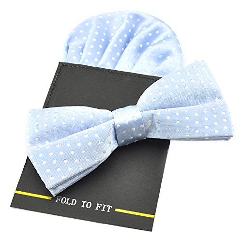 PenSee Mens Silk Polka Dot Pre-Tied Bow Tie & Hanky Card Set (Light ()