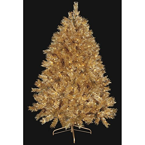 SilksAreForever 5'Hx43 W Gold Tinsel Laser Lighted Artificial Christmas Tree w/Stand -Gold