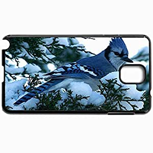 Customized Cellphone Case Back Cover For Samsung Galaxy Note 3, Protective Hardshell Case Personalized Blue Jay Winter Birds Black