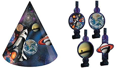 Space Blast Birthday Party 8 Hats and 8 Blowouts Bundle Pack by MSS