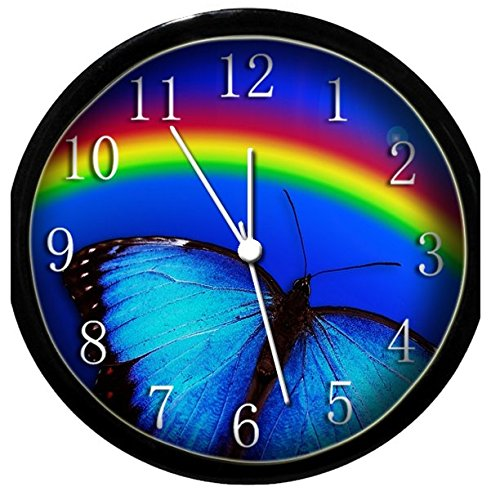 Glow in the Dark Wall Clock - Blue Butterfly and Rainbow