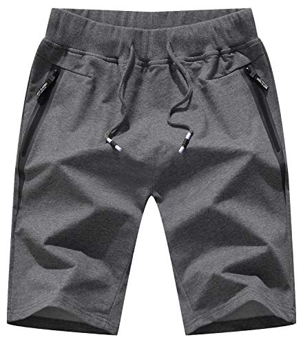 QPNGRP Mens Shorts Casual Drawstring Zipper Pockets Elastic Waist Darkgray 38