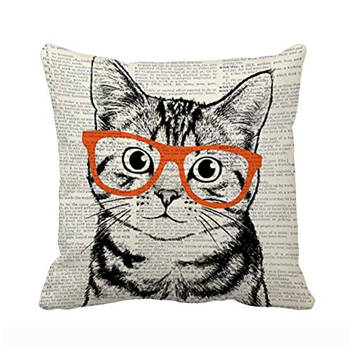 UOOPOO Vintage Cute Cat Art with Glasses Throw Pillow Case 18 x 18 Inches Soft Cotton Canvas Home Decorative Cushion Cover for Sofa and Bed One Side Print