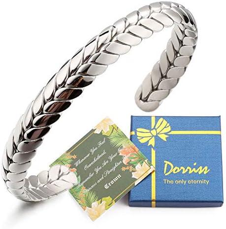 Dorriss Stainless Steel Cuff Bracelet, Wide Open Adjustable Wheat Bracelets, Weave Style Bangle Wrap Jewelry for Women, Men, Couples, Gift Idea