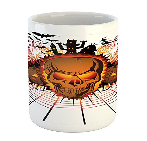 Ambesonne Halloween Mug, Angry Skull Face on Bonfire Spirits of Other World Concept Bats Spider Web Design, Printed Ceramic Coffee Mug Water Tea Drinks Cup, Multicolor