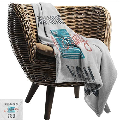 - Davishouse Vintage Home Throw Blanket Half Toned Big Brother Quote with Old-Fashion Analogue Camera Icon Book Web Print Cozy for Couch Sofa Bed Beach Travel 50
