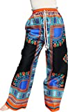 RaanPahMuang African Dashiki Rising Sun Elastic Waist Ankara Pants, X-Large, Angelina - New Black Orange