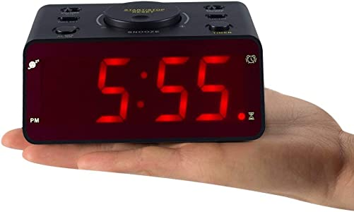 Timegyro Battery Powered Desk Clock,Alarm Clock Super Loud with Kitchen Timer,Snooze for Kitchen,Bedroom,Heavy Sleepers