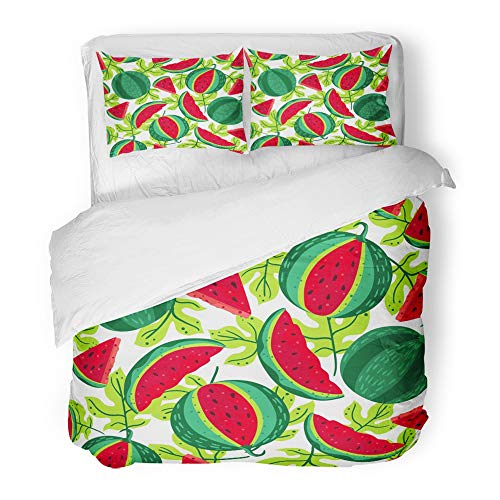 Emvency Bedding Duvet Cover Set Full/Queen Size (1 Duvet Cover + 2 Pillowcase) Colorful Berry Bright Pattern with Watermelons Seeds and Leaves On White Green Color Hotel Quality Wrinkle