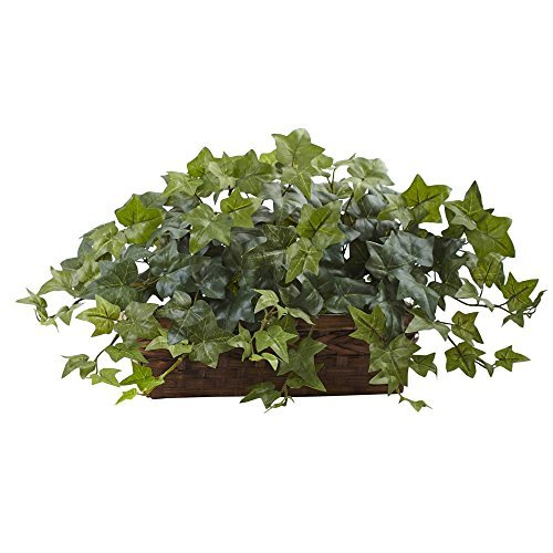 (Nearly Natural 6819 12.5in. Puff Ivy with Ledge Basket Silk Plants Green)