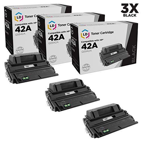 LD Compatible Toner Cartridge Replacement for HP 42A Q5942A (Black, 3-Pack)