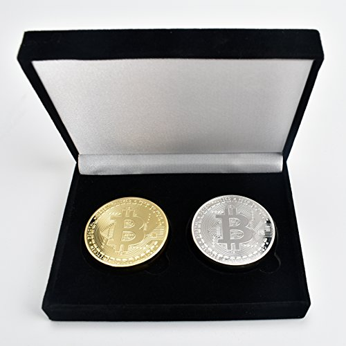 2PC Gold & Silver Plated Bitcoins BTC w/ Unique Bitcoin Velvet Display Case to HODL - Limited Edition |100 Percent Great Quality Item| For Coin Collecting or Unique Gifts for Adults/ Funny Gift