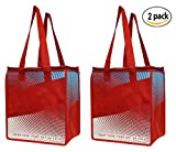 2 Piece Earthwise Insulated Grocery Bag - KEEPS FOOD HOT OR COLD Large Hot Cold Thermal Shopping Tote w/ ZIPPER CLOSURE