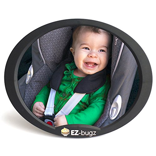 Baby Car Mirror for Rear Facing Child Seats, Big and Clear Rear View of Your Newborn Infant in the Back, Fits to Seat Headrest. By Baby Uma & EZ-Bugz