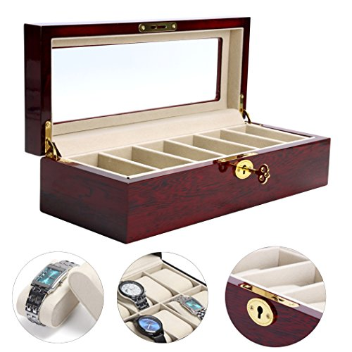 YaeKoo Wooden Watch Box 6 Slots Display Clear Top Jewelry Case Organizer