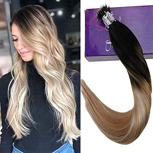 Human Hair Nano Ring Hair Extensions Colorful Off Black and Golden Brown to Platinum Blonde Fusion Keratin Stick Tip Extensions 50g/50s (Brown Platinum Ring)
