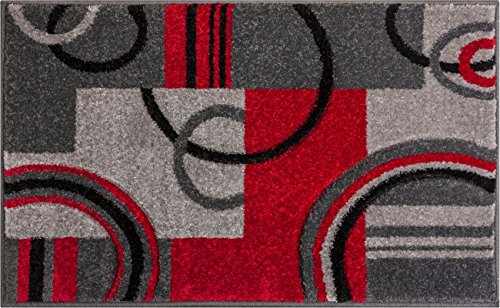 Well Woven 60010-DMT Door Mat Scatter Entry Mat Ruby Contemporary Modern Accent Rug, 1'8