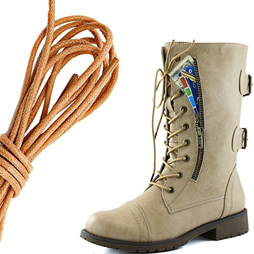 DailyShoes Womens Military Lace Up Buckle Combat Boots Mid Knee High Exclusive Credit Card Pocket, Tan Flirty Beige