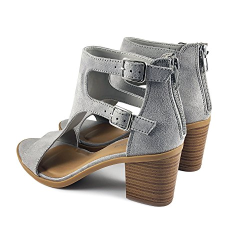 Buckle Double Soda Stacked Heel Toe Cutout Women's Grey Open Sandal tw1Aq41Icx