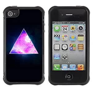 Hybrid Anti-Shock Defend Case for Apple iPhone 4 4S / Awesome Hipster Galaxy Triangle