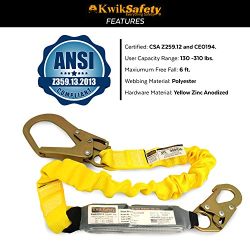 KwikSafety (Charlotte, NC) BOA (4 PACK) Single Leg 6ft Tubular Stretch Safety Lanyard   OSHA ANSI Fall Protection   EXTERNAL Shock Absorber   Construction Arborist Roofing   Snap Rebar Hook Connectors by KwikSafety (Image #5)