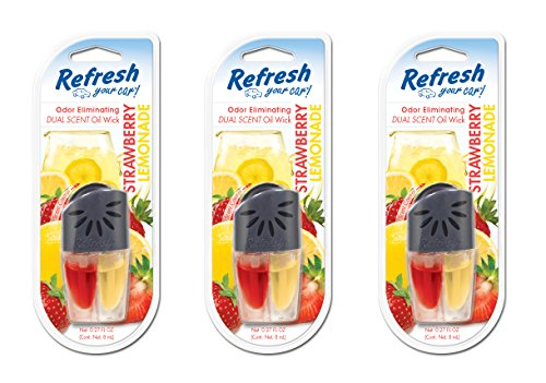 Refresh Your Car! 83852 Fresh Strawberry and Cool Lemonade Scented Oil Wick, 3 (Oil Lemonade)