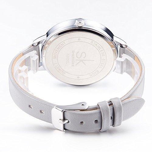 SK Women Watches Leather Band Luxury Quartz Watches Girls Ladies Wristwatch Relogio Feminino (Grey) by SK (Image #3)