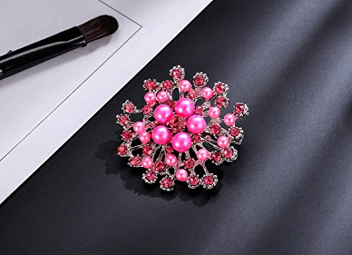 - Hemlock Pearl Brooch, Scarf Pin Shiny Crystal Bouquet Party Dress Brooch (Pink)