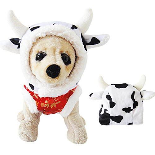 Dog Cow Costume (Halloween Dog Costume Cow Hat for Party Small)