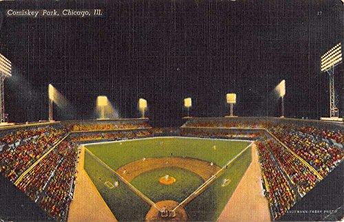 Chicago Illinois Comiskey Park Stadium At Night Antique Postcard - Park Stadium Comiskey