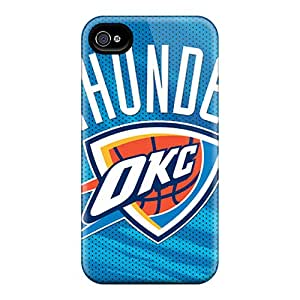 Iphone 4/4s EVH7735SiiH Support Personal Customs Vivid Oklahoma City Thunder Image Bumper Cell-phone Hard Cover -LavernaCooney